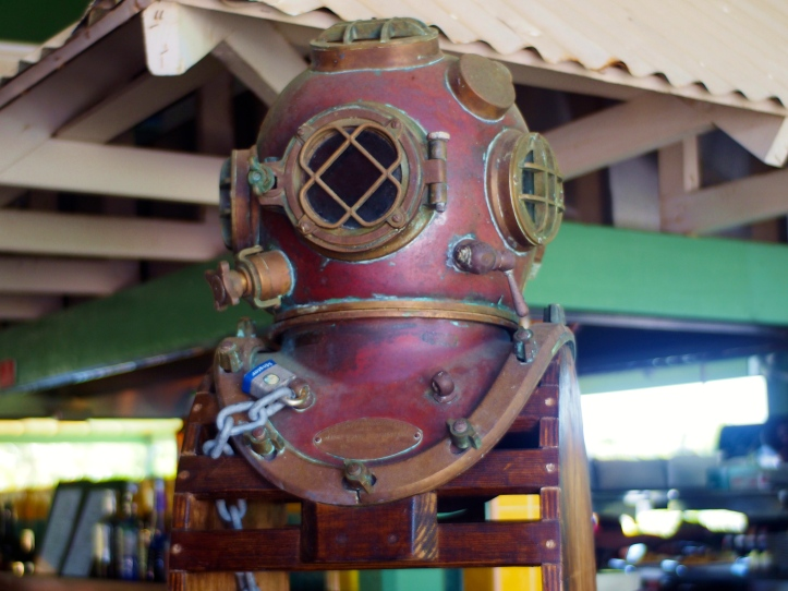 A diver's helmet was in the bar area.