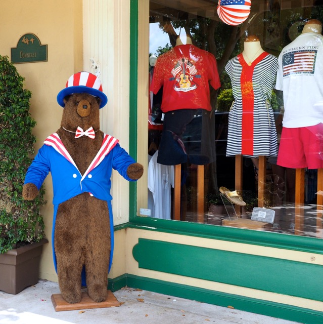"This ""patriotic"" bear was near the flag on Park Avenue."
